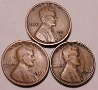 1916 S 1923 S 1924 S LINCOLN WHEAT CENT PENNY -  3 COINS  - SHIPS FREE