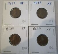 LINCOLN  WHEAT CENT SET OF 4:1945-S, 1951-S, 1952-S, 1956-D