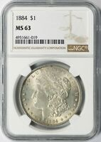 1884 MORGAN SILVER DOLLAR $1 NGC MINT STATE 63