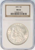 1892-P MORGAN SILVER DOLLAR - NGC GRADED MINT STATE 62 - BEAUTIFUL HIGH QUALITY COIN
