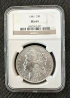 1881-P NGC MINT STATE 64  MORGAN SILVER DOLLAR  LUSTER