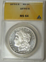 ANACS MINT STATE 64 1879-S MORGAN SILVER DOLLAR SAN FRANCISCO MINT 4777755
