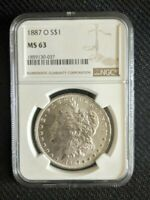 1887 - O MORGAN SILVER DOLLAR NGC MINT STATE 63  DATE & UNDER GRADED
