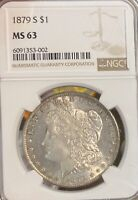 1879-S NGC MINT STATE 63 MORGAN SILVER DOLLAR