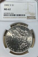 1882-S NGC MINT STATE 62 MORGAN SILVER DOLLAR