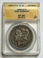 1889-CC $1 MORGAN SILVER DOLLAR ANACS CERTIFIED VF 20 DETAILS, MINTAGE OF 350K