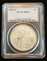 1885 O MORGAN PCGS MINT STATE 64 GREAT LUSTER. OLDER BLUE HOLDER.  19239390 T1546