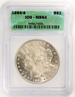 1894-S MORGAN SILVER DOLLAR - ICG GRADED MINT STATE 64 - GORGEOUS COIN - KEY DATE