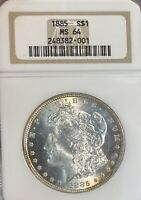 1885 NGC MINT STATE 64 MORGAN SILVER DOLLAR
