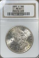1882-S NGC MINT STATE 63 MORGAN SILVER DOLLAR