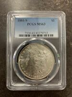 1881 PCGS MINT STATE 63 MORGAN SILVER DOLLAR $1 UNITED STATES