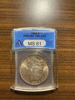 1889-P MORGAN SILVER DOLLAR $1 ANACS MINT STATE 61 VAM 28A DOUBLE DOUBLED EAR