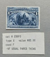 JJ: 1C COLUMBIAN SC 230P3 PLATE PROOF ON INDIA MNG THINS