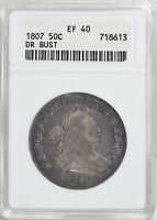 1807 DRAPED BUST HALF DOLLAR >ANACS EXTRA FINE 40<  PRETTY COIN > FAST SHIPPING