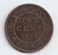 1858 CANADA ONE LARGE CENT COIN