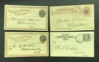 US   4 GOOD GOVERNMENT POSTAL CARDS W/FANCY CANCEL STARS