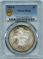1894-S $1 MORGAN SILVER DOLLAR COIN PCGS MINT STATE 64
