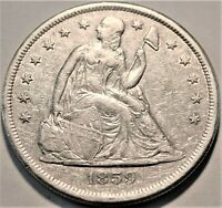 1859 O SEATED LIBERTY SILVER ONE DOLLAR HIGHER GRADE DETAILS
