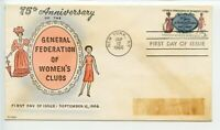 USA 1966 FDC HAND PAINTED CACHET M. FREY GENERAL FEDERATION