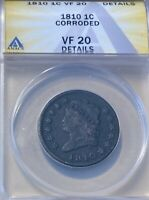 1810 ANACS VF20 DETAILS  CLASSIC HEAD LARGE CENT