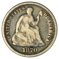 1870 SEATED LIBERTY HALF DIME  F FINE  PRICED RIGHT