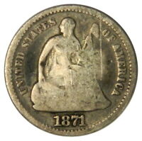 1871 SEATED LIBERTY HALF DIME  G GOOD CONDITION  PRICED RIGHT