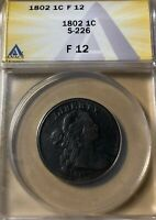 1802 ANACS F12 DRAPED BUST LARGE CENT