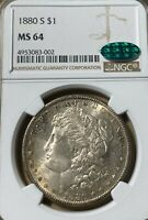 1880-S NGC/CAC MINT STATE 64 MORGAN SILVER DOLLAR