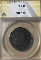 1802 ANACS VG10 DRAPED BUST LARGE CENT