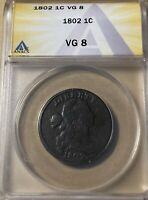 1802 ANACS VG8 DRAPED BUST LARGE CENT