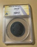 1803 ANACS F2 DRAPED BUST LARGE CENT