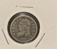 1837 LARGE 5  CAPPED BUST HALF DIME  F/VF