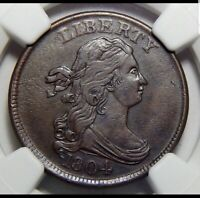 1804 DRAPED BUST HALF CENT PCGS AU50 1/2C CROSSLET 4 WITH STEMS EARLY COPPER BN