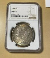 1880-S NGC MINT STATE 62 MORGAN SILVER DOLLAR