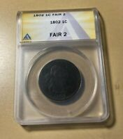 1802 ANACS F2 DRAPED BUST LARGE CENT