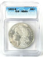 1921-S MORGAN DOLLAR SILVER S$1 CHOICE UNCIRCULATED ICG MINT STATE 64
