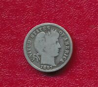 1897 BARBER SILVER DIME LY CIRCULATED SHIPS FREE