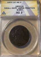1803 ANACS AG3 DRAPED BUST LARGE CENT