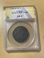 1798 ANACS AG3 DRAPED BUST LARGE CENT