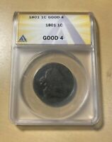 1801 ANACS G4 DRAPED BUST LARGE CENT