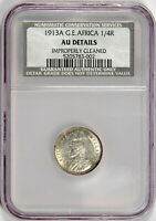 1913-A GERMAN EAST AFRICA 1/4 RUPEE  NGC/NCS AU DETAILS  PRICED RIGHT