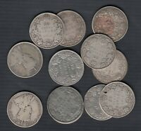 1911 1936 CANADA 50 CENTS SILVER COINS LOT OF 12