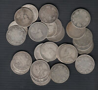 1910 1936 CANADA 25 CENTS SILVER COINS LOT OF 25