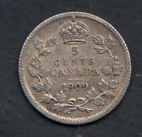 1909 HL CANADA 5 CENTS SILVER COIN