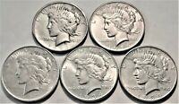 LOT  5  BETTER DATE PEACE SILVER DOLLARS 1921 HIGH RELIEF 19