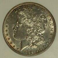 1894 MORGAN DOLLAR. ANACS EF40. ALMOST UNCIRCULATED DETAILS WITH LUSTER.