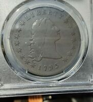1795 3 LEAVES FLOWING HAIR DOLLAR PCGS FINE F DETAIL CANNOT SEE REPAIR; YOU LOOK