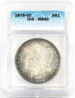 1878-CC MORGAN DOLLAR SILVER S$1 UNCIRCULATED ICG MINT STATE 62