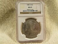 1882 - O - S$1   NGC GRADED MORGAN SILVER DOLLAR  MINT STATE 63