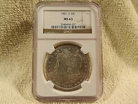 1901 - O - S$1  NGC GRADED MORGAN SILVER DOLLAR   MINT STATE 63
